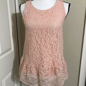 NWT Cable & gauge pink lace top